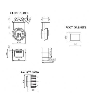 Portalampara G5 84108, anillo de tornillo y juntas de pie IP67