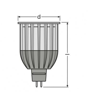 LED Parathom PRO ADV 50 12W WW 827 12V MR16 36D Dimmerabile