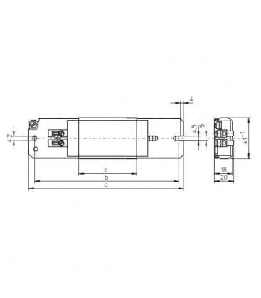 Ballast LN18.220 230V 50HZ Super-mince T8, TC-F/TC-L, TC-D/TC-T, TC-DD