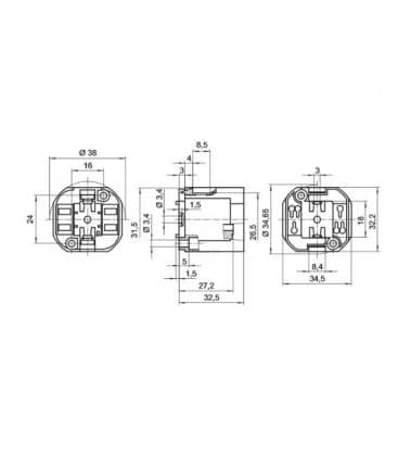 Lampholder, Base GX24q-3,4 TC-tEL