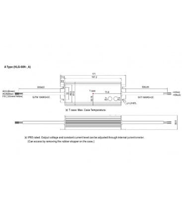 HLG-60H-24A, 24V / 60W / IP65