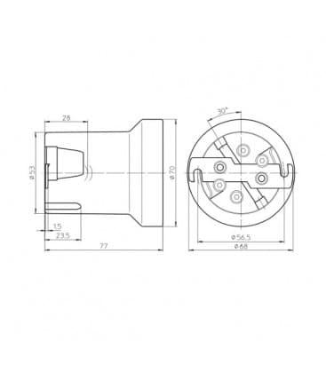 Portalampara E40 Porcelana 12811 con cierre de seguridad de la lampara