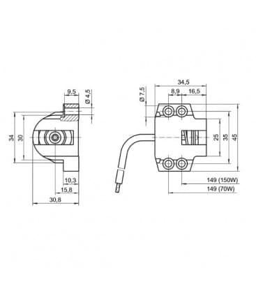 Lampholder, Base RX7s Ceramic 30602