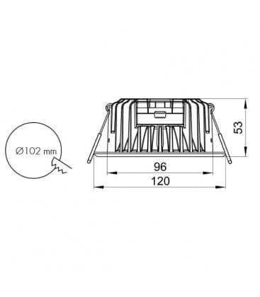 LED Pro Series 12W 230V 3000K 110D Regulable