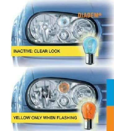 Diadem 7507LDA PY21W 12V Looks white, shine yellow - Double pack