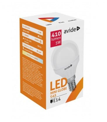 LED Mini Globe G45 5W 220-240V NW E14