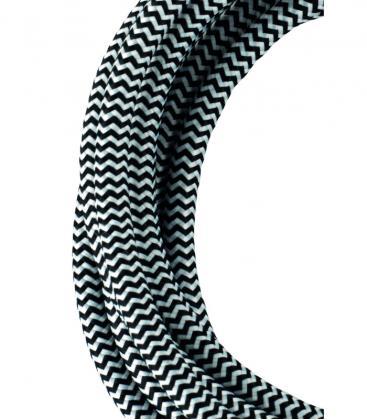 Tekstilni kabel 2C Črna/Bela 3m 139685 8714681396858