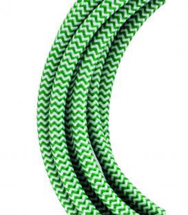 Più su Cavo tessile 2C Verde/Bianca 3m
