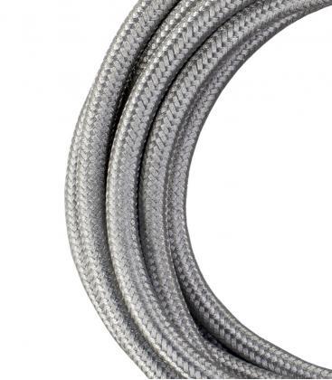 Textile Cable 2C Metallic Silver 3m 140312 8714681403129