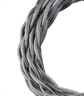 Plus de Câble textile Twisted 2C Argent métallique 3m