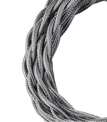 Cable Textil Twisted 2C Plata metalizada 3m 140315 8714681403150