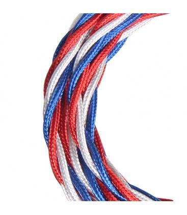 Câble Textile Torsadé 3c Bleu Brillant/Blanc/Rouge 3m 141099 8714681410998