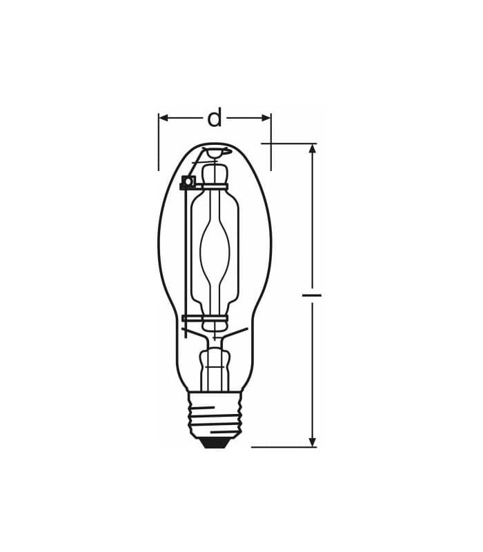 Metal Halide Lamp Choke: Osram HQI-E 150W-ndl E27 Clear Hqi-e-150-ndl 4050300434018