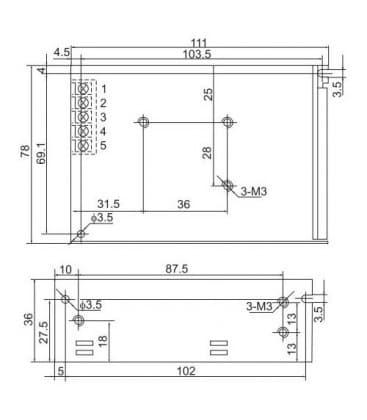 LED de alimentacion de 12V 60W 110-220V