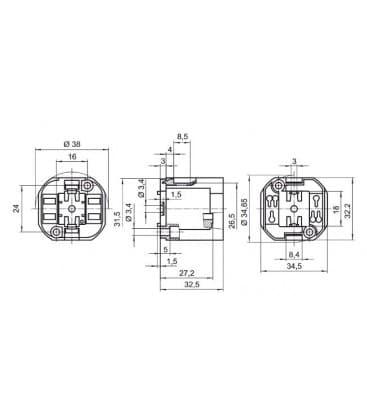 Lampholder, Base G24q-3 TC-dEL TC-tEL