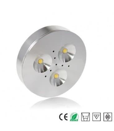 LED DISK 12V ALU 3000K WW cabinet luce