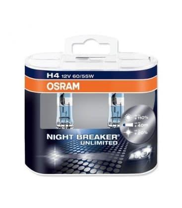 H4 12V 60/55W 64193 NBU Night Breaker Unlimited Dvojno pakiranje 64193-NBU-DUO 4052899017214